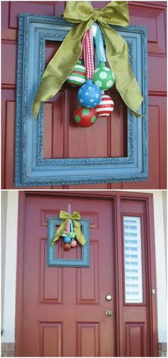 Even a Painted Picture Frame or a Painted Letter would look good on the front door -- Maybe added to the other idea with the Tulle & Ribbon  --- Have to see what I have around.....