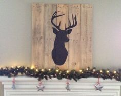 Deer Head Silhouette on Reclaimed Wood Boards