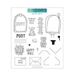 There's always time for snail mail! Create some today with the Mail Drop Stamp set by Concord & The package includes 20 clear photopolymer stamps on a Large Mailbox, Label Image, Honey Bee Stamps, Concord And 9th, Sending Hugs, Interactive Cards, Flower Patch, Happy Mail, Penny Black