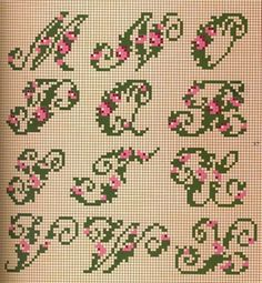 Gráficos gratis Cross Stitching, Cross Stitch Embroidery, Alphabet Words, Cross Stitch Letters, Le Point, Letters And Numbers, Needlepoint, Pink And Green, Floral