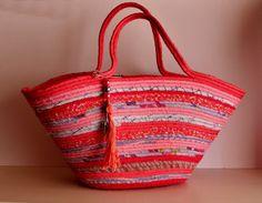 Pretty in Pink Pink Stripped Basket Summer Bag by Annas7Closet