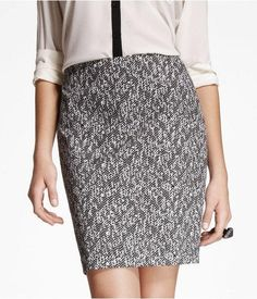 @Express black and white textured herringbone pattern pencil skirt. http://zodiacfashion.blogspot.com