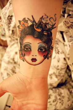 Supersweet little tatt. Looks like an Angelique Houtkamp design, but don't know if she did this tattoo herself. #neotraditional #AngeliqueHoutkamp  Mermaid tat?