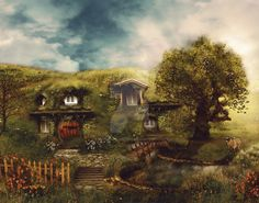 the_shire__a_hobbit_house_by_gingerkellystudio-d2fq67s.jpg (1024×805)
