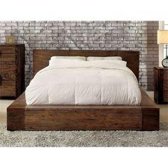 Solid Wood Platform Bed, Diy Platform Bed, Queen Platform Bed, Rustic Platform Bed, Platform Bed Designs, California King Platform Bed, California King Bedding, Bedroom Furniture, Bedroom Decor