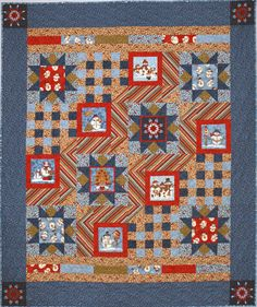 """This quilt looks complicated but is actually very simple with 3 different blocks set together. Any 6+ inch panel square will work; Christmas, Halloween, Easter, and Floral. Or fussy cut a kid's fabric for the centers. Finished Size: 59 1/2"""" x 71 1/2"""" Skill Level: Advanced Beginner Star Quilt Patterns, Modern Quilt Patterns, Fabric Patterns, Embroidery Patterns, Cross Stitch Patterns, Sewing Patterns, Quilt Of Valor, Patriotic Quilts, Winter Quilts"""