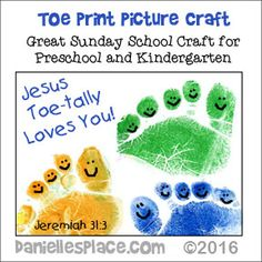 Jesus Toe-tally Loves You Bible craft from www.daniellesplace.com - If you use this craft please give Danielle's Place credit and link to the web site