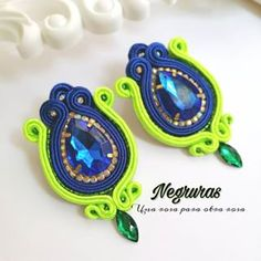 Shibori, Soutache Earrings, Jewlery, Crochet, Crafts, Tela, Vestidos, Necklaces, Soutache Jewelry