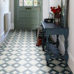 Modern Harlequin Denim Encaustic Tiles add a subtle touch of pattern and colour into a home. Pop them into a hallway for the ultimate visual feast. Hall Tiles, Tiled Hallway, White Hallway, Victorian Tiles, Modern Victorian, Hall Flooring, Vinyl Flooring, Hallway Designs, Hallway Ideas