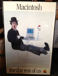 Apple Original Poster Steve Jobs Mac Charlie Chaplin Cupertino HQ Artwork