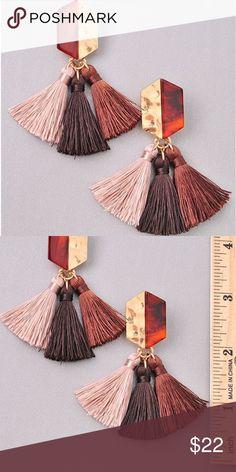 829602e6ce NEW! Acrylic Stud Tassel Earrings Brown Pink NEW! Acrylic Stud Tassel  Statement Earrings Statement