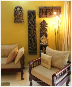 the east coast desi: Living with what you Love (Home Tour) – Indian Living Rooms Wooden Sofa Designs, Wooden Sofa Set, Ethnic Home Decor, Indian Home Decor, Indian Wall Decor, Home Decor Furniture, Furniture Design, Indian Furniture, Wooden Furniture