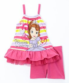 Loving this Pink Sofia the First 'Princess in Training' Tank & Shorts - Girls on #zulily! #zulilyfinds