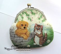 Handmade felted wallet purse with dog and by MarusyaKacharizkina