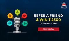 Play online rummy and refer your friends to ClassicRummy and get rewarded up to Rs. 1500 for each referral. Invite your friends now and keep getting rewarded. Refer A Friend, Play Online, Invite Your Friends, Free Games, Card Games, Indian, Classic, Text Posts, Derby