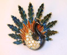 Signed Art Enamel and Rhinestone Peacock Brooch