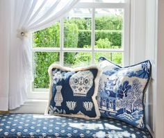 On Safer Ground in Nantucket Today   pillows blue willow 687x581