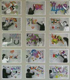 Knutselwerk met naam - graffiti letters tekenen - foto tegen stenen muur als…
