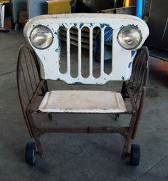 What to do with that old jeep grill we have! Jeep grill chair- UH! mazing