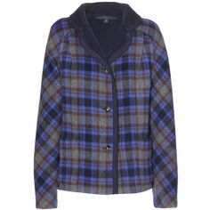 Marc by Marc Jacobs Gable Reversible Plaid Wool-Blend Jacket ($375) ❤ liked on Polyvore featuring outerwear, jackets, tops, куртки, blue, wool blend jacket, marc by marc jacobs jacket, plaid jacket, reversible jacket and blue jackets