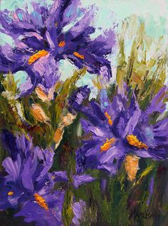 Floral oil painting Oil Painting Spring Irises by artbymarion 18x24cm oil on panel.