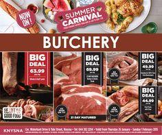 #WeLoveFresh at Food Lovers Market Knysna Whole & half lamb R63.99 p/kg 21 Day Matured Rump & Sirloin steak R69.99 p/kg Amaboerie 100% pure Pork Boerewors R49.99 p/kg Pork packs with stew R44.99 p/kg. E&OE, While stocks last. Valid from 26 Jan - 1 Feb 2015. #FLM #Knysna