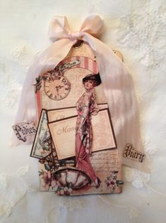 Anne's gorgeous A Ladies' Diary tag. Love the ribbon! #graphic45 #tags