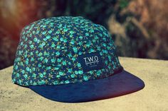 The Worlds Original Face  TWO Face London3rd Edition 5 panel cap, hat- Black box logo - Blue floral corduroy- Navy suede peak - Black leather white stitched strap