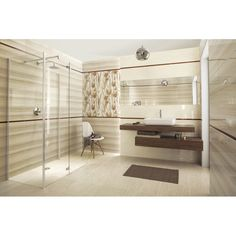 Coraline / Coral bathroom tiles – white and beige bathroom tiles Coraline, Coral Bathroom, Healthy Living Magazine, Double Vanity, Interior Inspiration, Tiles, Bathtub, Flooring, Ontario
