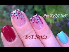 Pink & Blue Dotting Tool Nail Art - Summer Nails Using Sheer Tint Nail P...