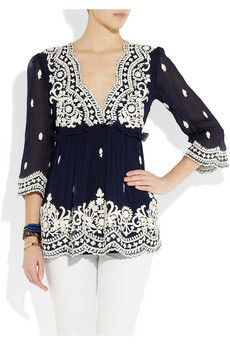 Leaves of Grass Aria embroidered silk-georgette top