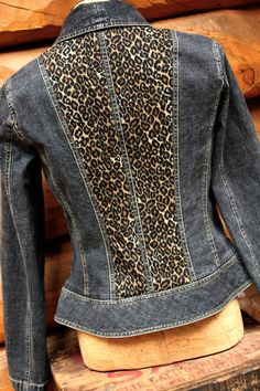 upcycled denim jacket, jean jackets, upcycled jean jacket, jacket upcycl, leopard prints, upcycled jacket, old jeans