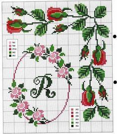 Rose charts Cross Stitch Borders, Just Cross Stitch, Cross Stitch Alphabet, Cross Stitch Flowers, Cross Stitch Designs, Cross Stitch Charts, Cross Stitching, Cross Stitch Patterns, Cross Stitch Embroidery