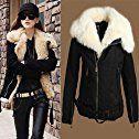 Queen's Park Hot Sell Women's NEW Warm Lush Fur Winter Coat Black Outerwear Jacket Parka (Bust:Black, L Bust:40Inch/100cm)