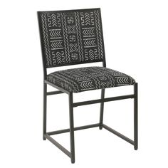 The HomePop Aztec Dining Side Chair blends modernity with masculinity. Its sturdy metal frame boasts a sleek black finish, and a cushioned back and seat add comfort. The Aztec pattern adds dimension and intrigue to this dining chair. Industrial Metal Chairs, Metal Dining Chairs, Dining Chair Set, Side Chairs, Industrial Style, Small Dinning Room Table, Dining Room Walls, Living Room Chairs, Kitchen Island Lighting Modern