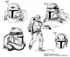 concept art by Joe Johnston Joe Johnston is a talented film director and former effects artist known for his work on special effects-filled movies like The Rocketeer, Jumanji, Jurassic Park III, Ca… Star Wars Concept Art, Star Wars Art, Star Trek, Boba Fett Costume, Joe Johnston, Star Wars Helmet, Star Wars Bounty Hunter, Mandalorian Armor, Star Wars Drawings
