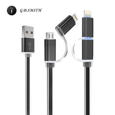 G. d. smith 2 in 1 micro usb cable untuk iphone 7 5 5 s se 6 6 s plus samsung/xiaomi/meizu/oneplus ponsel yang universal kabel