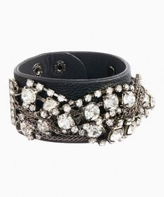 Another great find on #zulily! Black Leather & Silver Bling Snap Bracelet #zulilyfinds