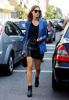 El estilo de Giorgia Tordini | Galería de fotos 12 de 15 | VOGUE. Supple black quilted leather skirt and ankle boots