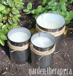 Great idea for your deck or patio...citronella candles wrapped in jute twine