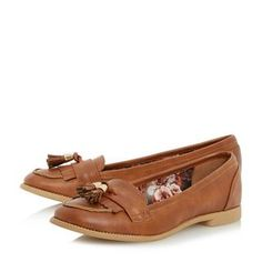 HEAD OVER HEELS LADIES GLYNNIS - Fringe And Tassel Detail Loafer Shoe - tan | Dune Shoes Online