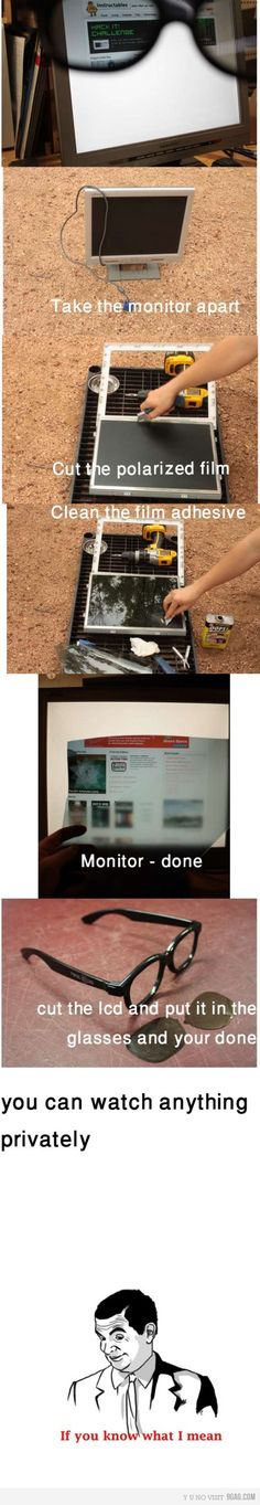 Privacy Monitor Hack! Aside from that last frame this is a great organizational security idea. Too bad you can't have individualized film to only allow you to see your own monitor.
