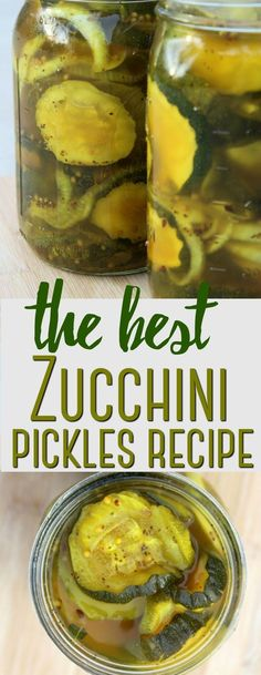 Zucchini Pickles Recipe - Rebooted Mom These zucchini pickles are a fun and unique way to use up a bumper crop of zucchini in a delicious recipe that features turmeric in a simple brine. Zucchini Relish Recipes, Canning Zucchini, Zucchini Pickles, Zuchinni Recipes, Vegetable Recipes, Pickled Zucchini, Recipe Zucchini, Zuchini Relish, Pickled Squash Recipe