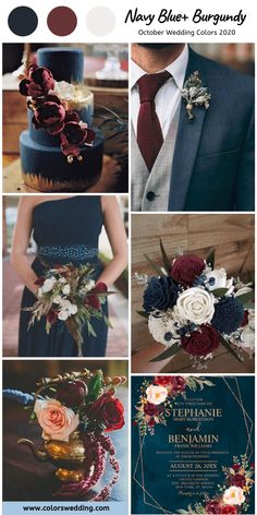 8 Fantastic October Wedding Color Combos for 2020 Navy Blue Groom, Navy And Burgundy Wedding, Maroon Wedding, Wedding Groom, Fall Wedding, Dress Wedding, Navy And Burgundy Suit, Wedding Flowers, Wedding Dressses