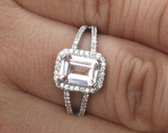 White Gold Morganite Emerald Cut and Diamond Halo Split Shank Ring - Pink. Want it Available in a Pink Rectangle Princess Cut Diamond and Diamond Halo Split Shank. Halo Engagement Rings, Wedding Ring Bands, Halo Rings, Ruby Rings, Bridal Rings, Halo Diamond, Diamond Cuts, Diamond Rings, Emerald Jewelry