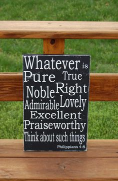 Philippians 4:8 Christian Bible Scripture Subway Typography Art  Wooden Sign.