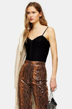 Looking for Topshop Hook Eye Corset Bodysuit ? Check out our picks for the Topshop Hook Eye Corset Bodysuit from the popular stores - all in one. Topshop Style, Tie Waist Top, Bodysuit Fashion, Printed Trousers, Black Bodysuit, Plus Size Blouses, Long Sweaters, Casual Tops, Boyfriend Jeans