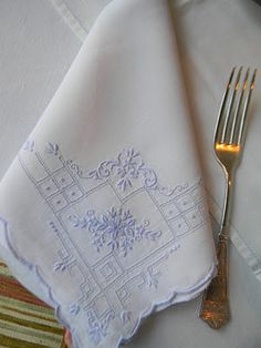 blue and white linens.  Going to do this to go with my good blue and white dishes! I'll use my embroidery machine.