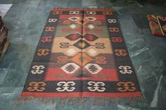 Antique Carpet Bilateral Sarkoy Bulgaria Rug Area 120x180cm Kilim Antique Rug #Unbranded