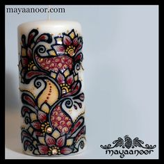Hand painted candle with henna / mehndi motifs  Chicago + Cleveland based henna artist www.mayaanoor.com Henna art and handicrafts  www.etsy.com/shop/MayaaNoor